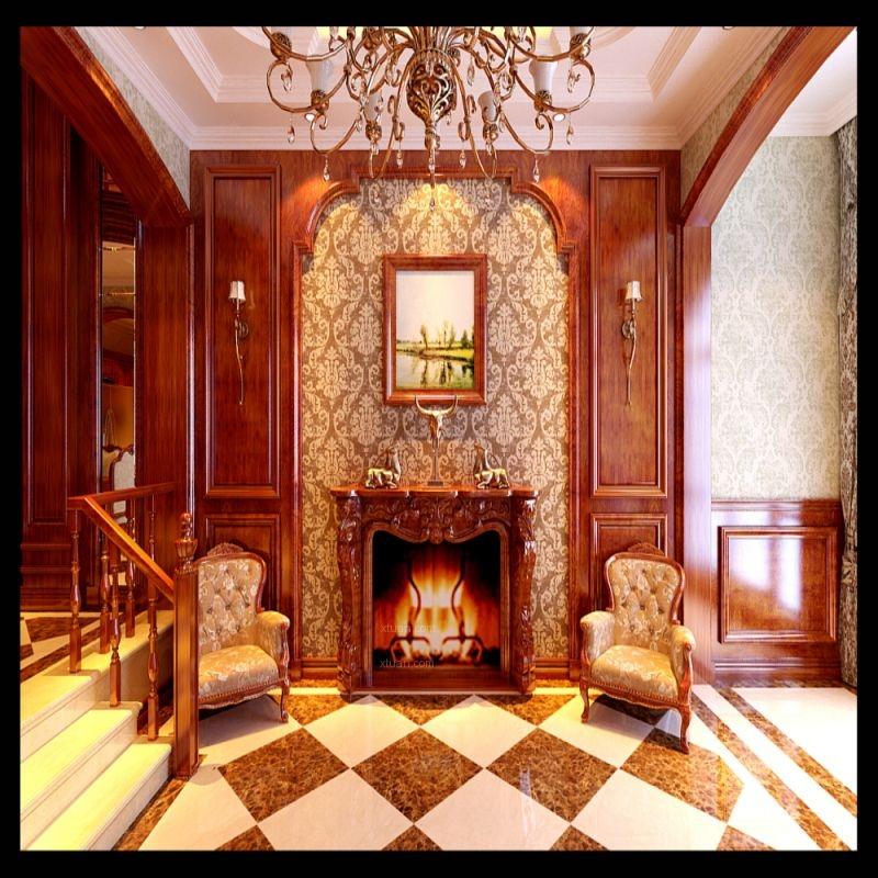 别墅美式风格客厅_中旅蓝爵350平美式风格装修效果图图片