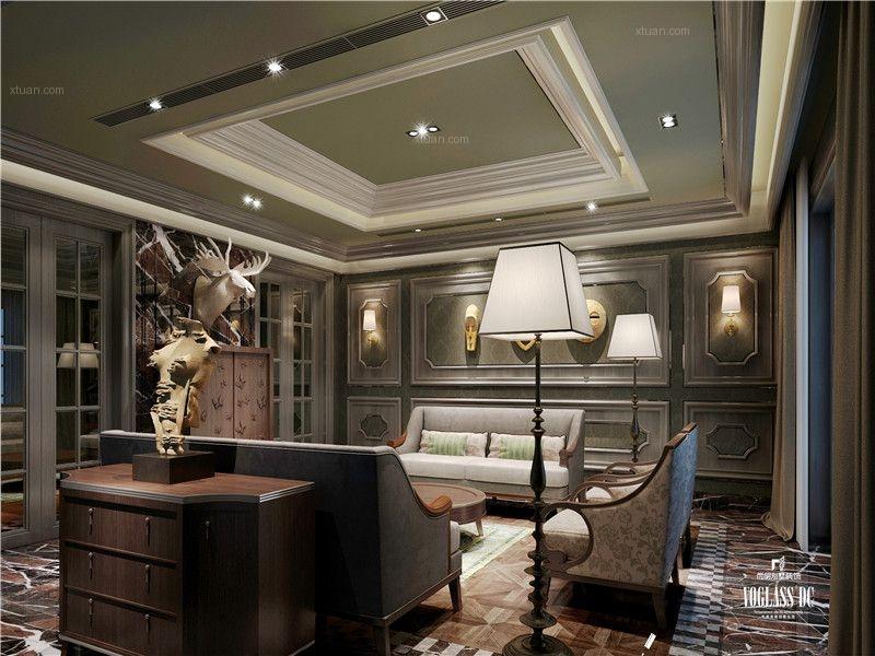 独栋别墅美式风格休闲区影视墙
