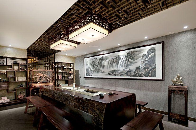 中式风格_郑州茶楼装修效果图图片