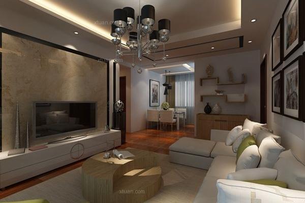长水航城103平米三居室现代风格