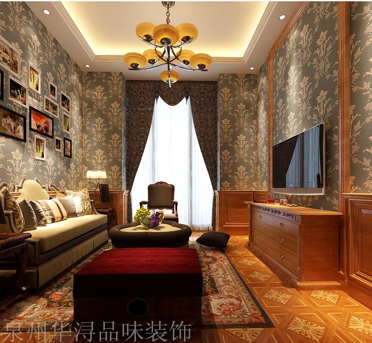 别墅美式风格休闲区沙发背景墙图片