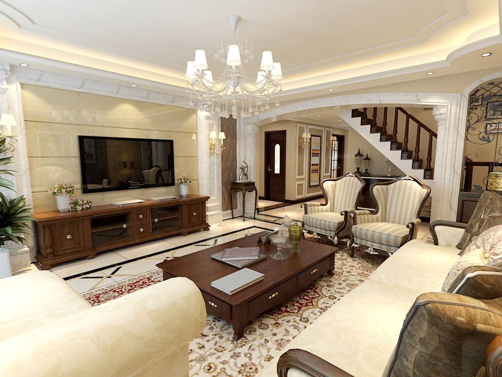 复式楼欧式风格客厅电视背景墙_大气欧式风格装修效果