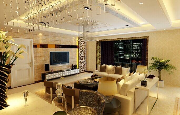 三居室现代简约客厅沙发背景墙