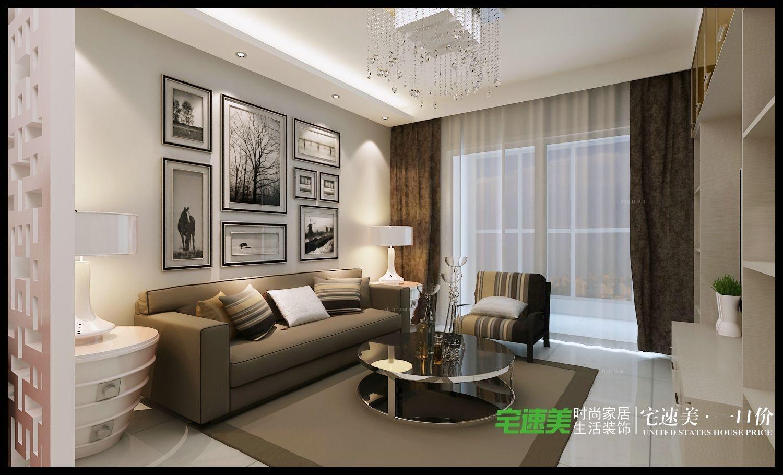 两室一厅欧式风格客厅照片墙图片