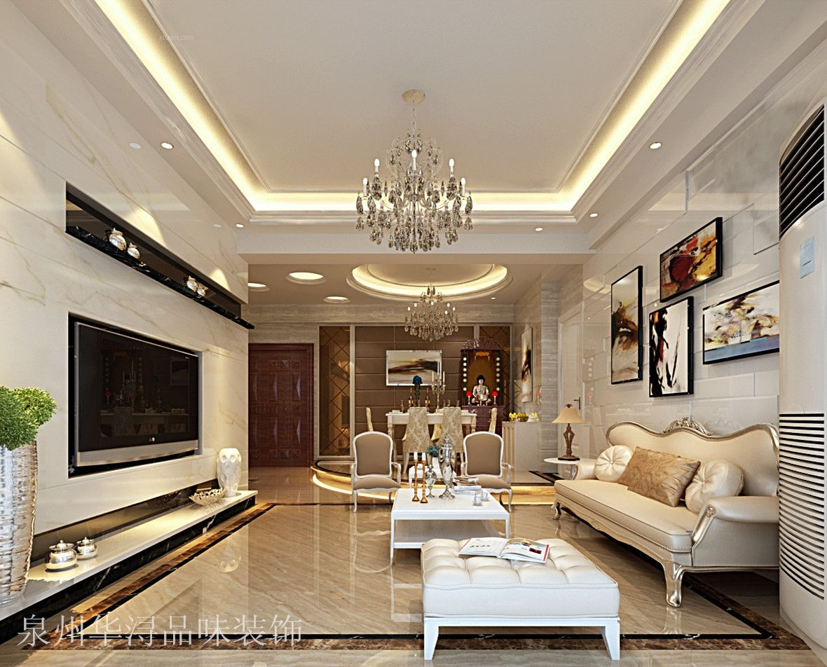 两居室简欧风格客厅图片