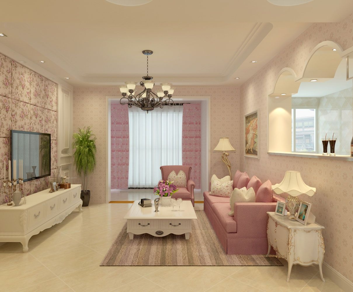 三室一厅韩式风格客厅_五彩城9-2-1001 韩式风格装修图片