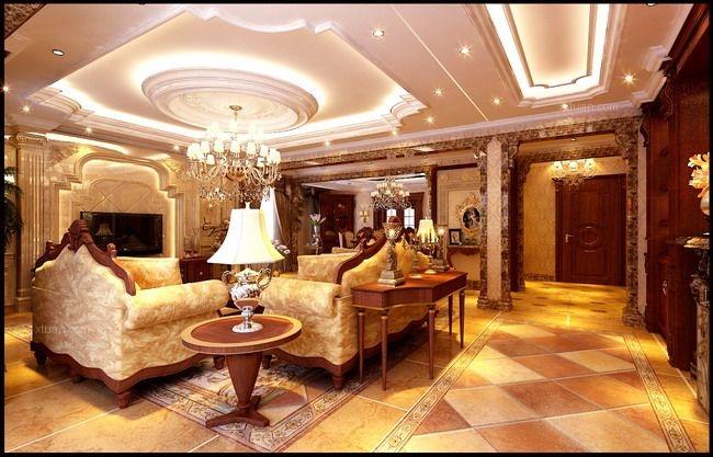 别墅欧式风格客厅_欧式奢华阜新400平样板间装修效果