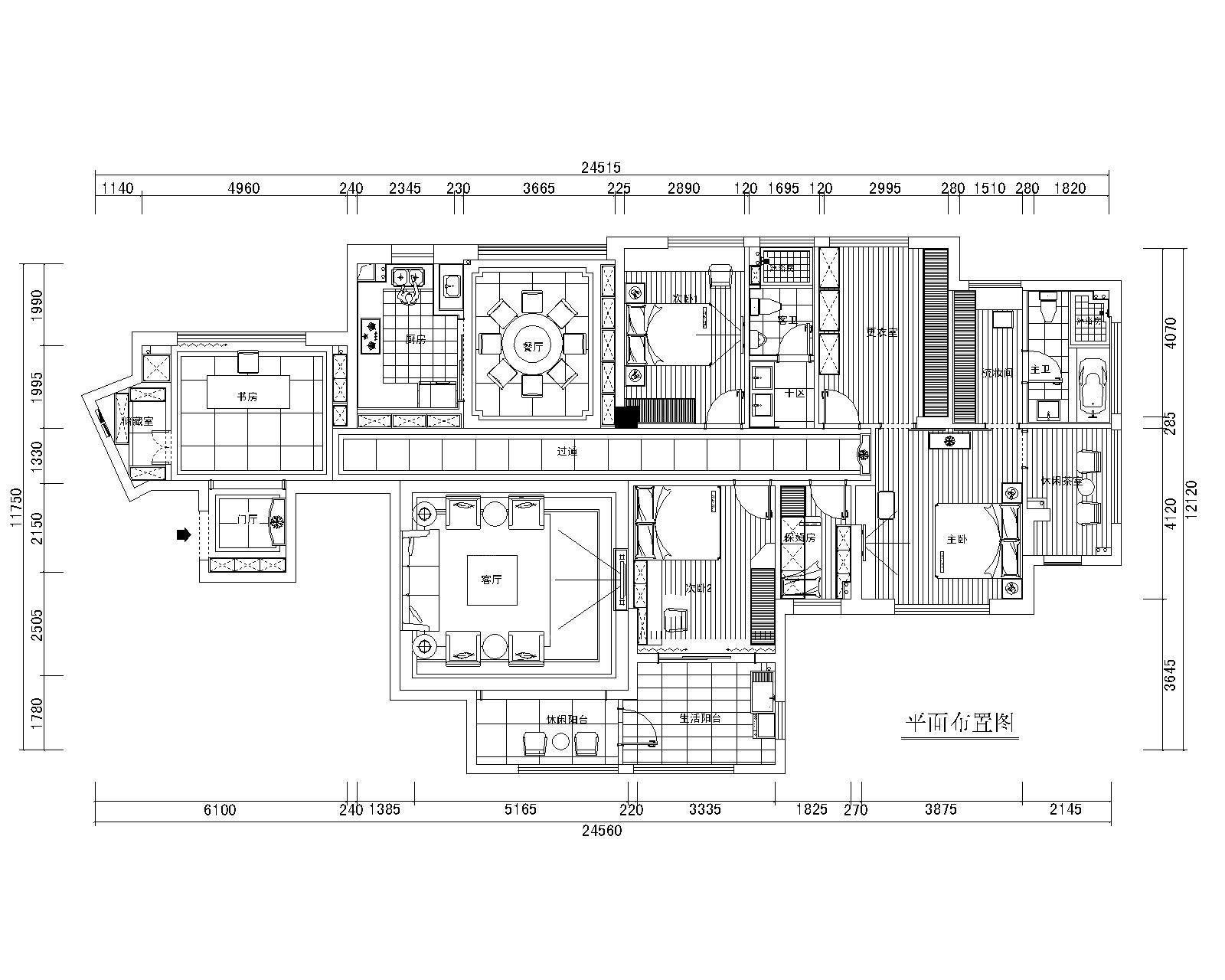 三室两厅现代简约玄关地台_融汇江山1#1501装修效果图