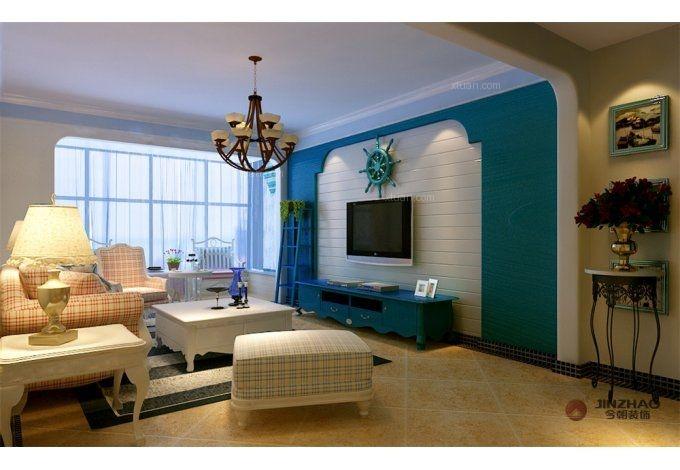 三居室地中海风格客厅电视背景墙