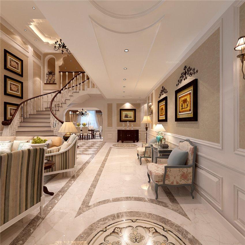 别墅美式风格客厅_皇家花园装修效果图-x团装修网图片