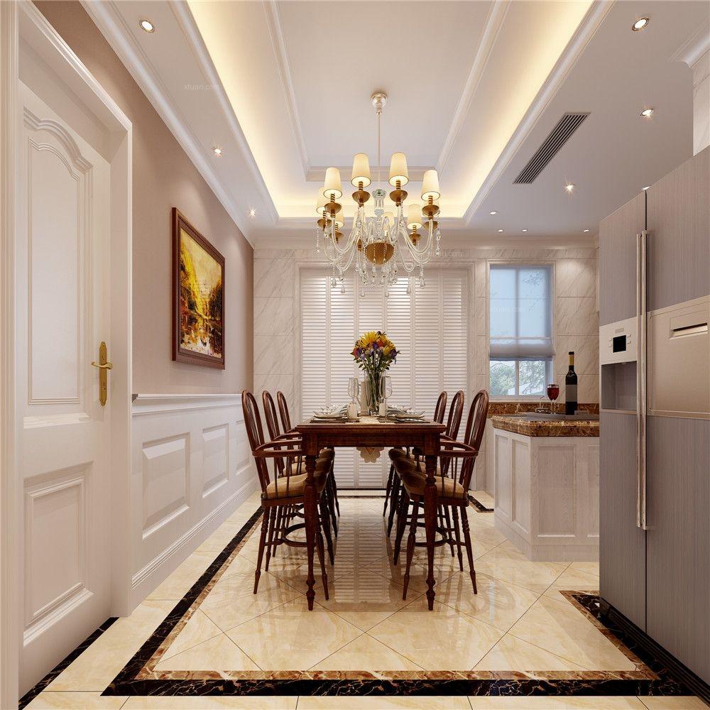 大户型简欧风格餐厅开放式厨房