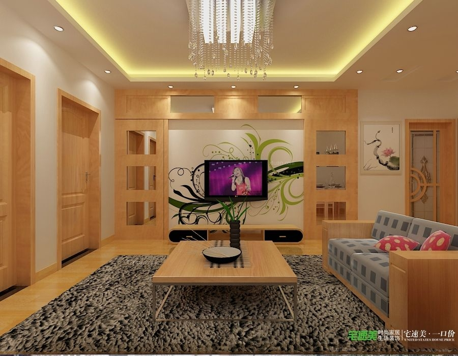 两室一厅客厅软装_信德半岛93平二室一厅装修效果图