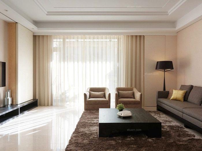 跃层现代简约客厅沙发背景墙