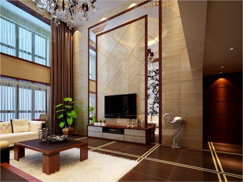 复式楼中式风格客厅沙发背景墙_富力城复式装修效果图图片