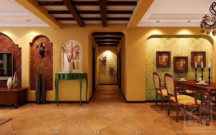 三居室美式风格玄关墙绘图片