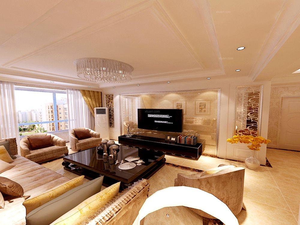两室两厅简欧风格客厅电视背景墙