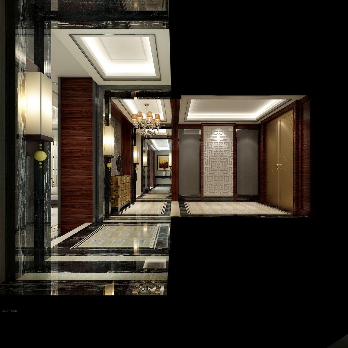 独栋别墅客厅_湖南湘江壹号别墅13栋装修效果图-x团