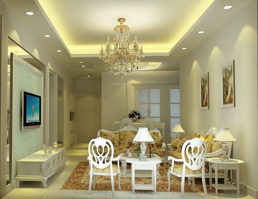 两居室简欧风格客厅沙发背景墙_中海岭湖墅装修效果图图片