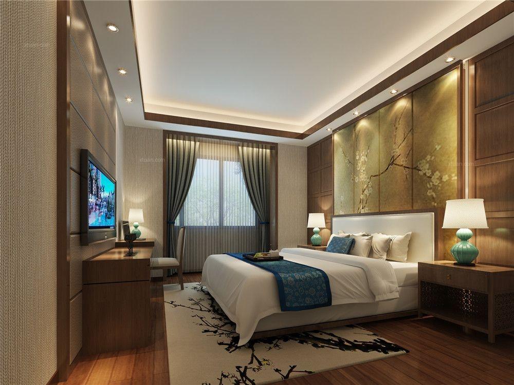 四居室中式风格主卧室电视背景墙