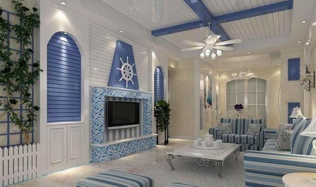 地中海135平米三房二厅二卫海蓝装修效果图