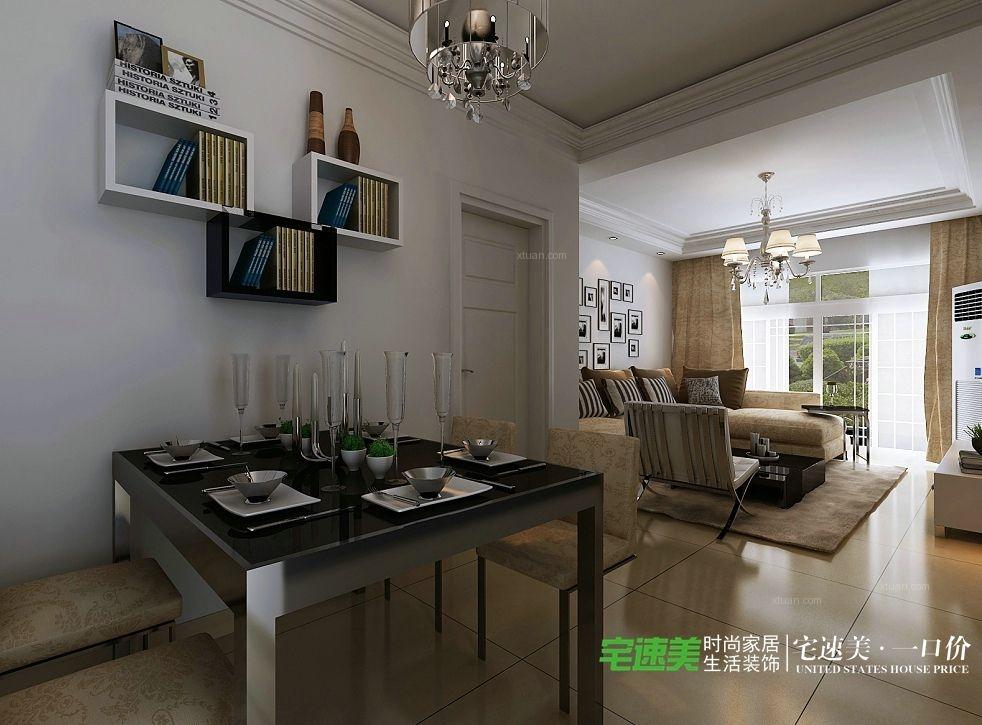 张家山领秀城78平两室一厅简约风格装修效果图