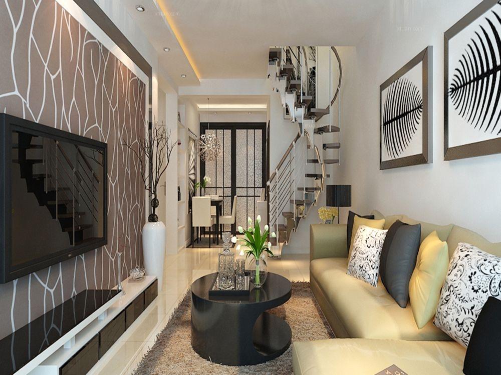 复式楼现代风格客厅沙发背景墙图片