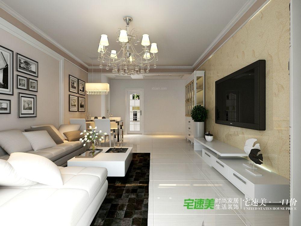 香江比华利山庄三室两厅109平简约风格装修效果图