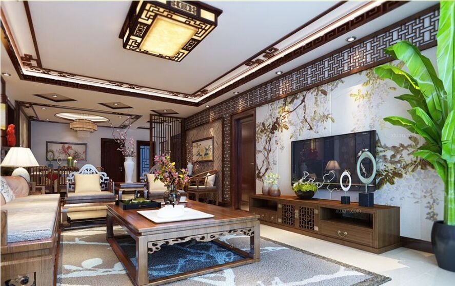 两室两厅中式风格客厅电视背景墙_黑白灰中式简约装修