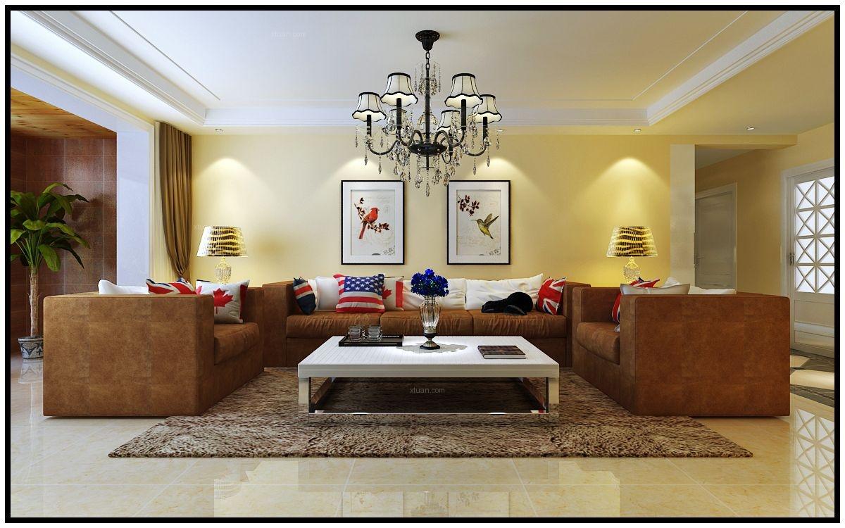三居室简欧风格客厅_奥北公元168平米装修效果图