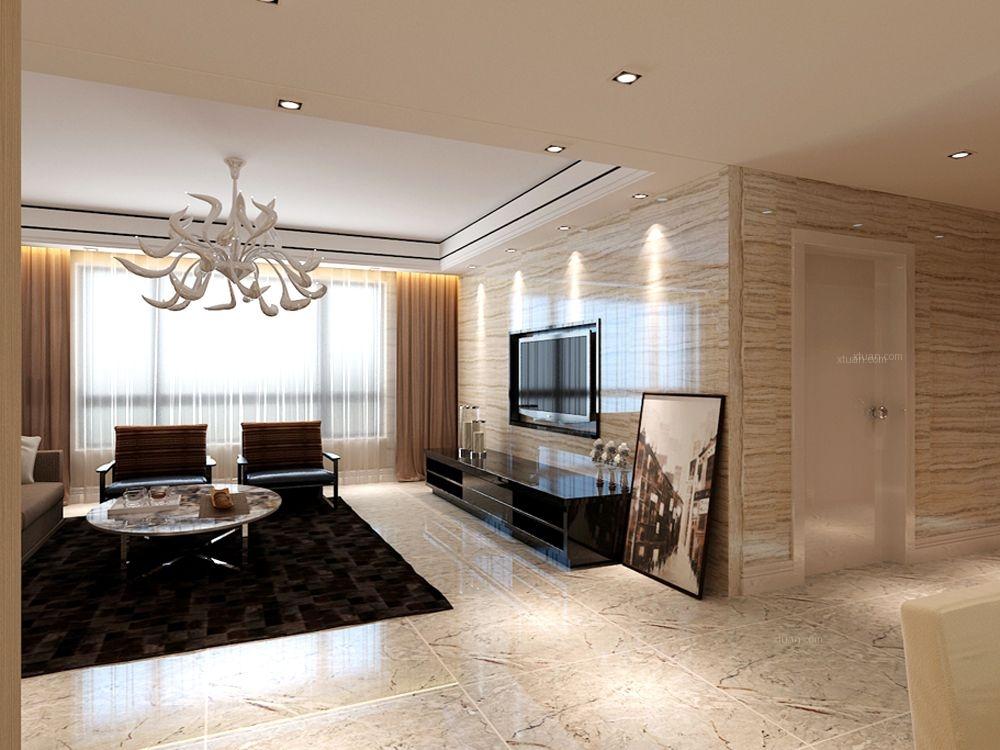 三室两厅时尚风格客厅电视背景墙_方大胜景170㎡-港式图片