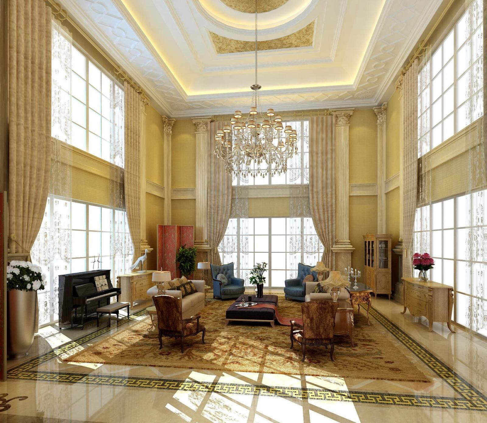 别墅法式风格客厅电视背景墙图片