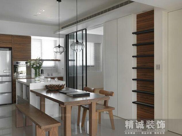 两居室现代风格餐厅开放式厨房