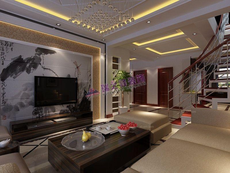 复式楼现代简约客厅电视背景墙图片