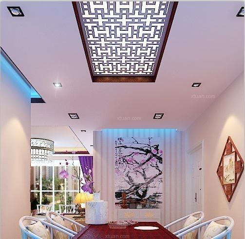 三居室中式风格餐厅墙绘_领事郡三居室装修效果图-x团