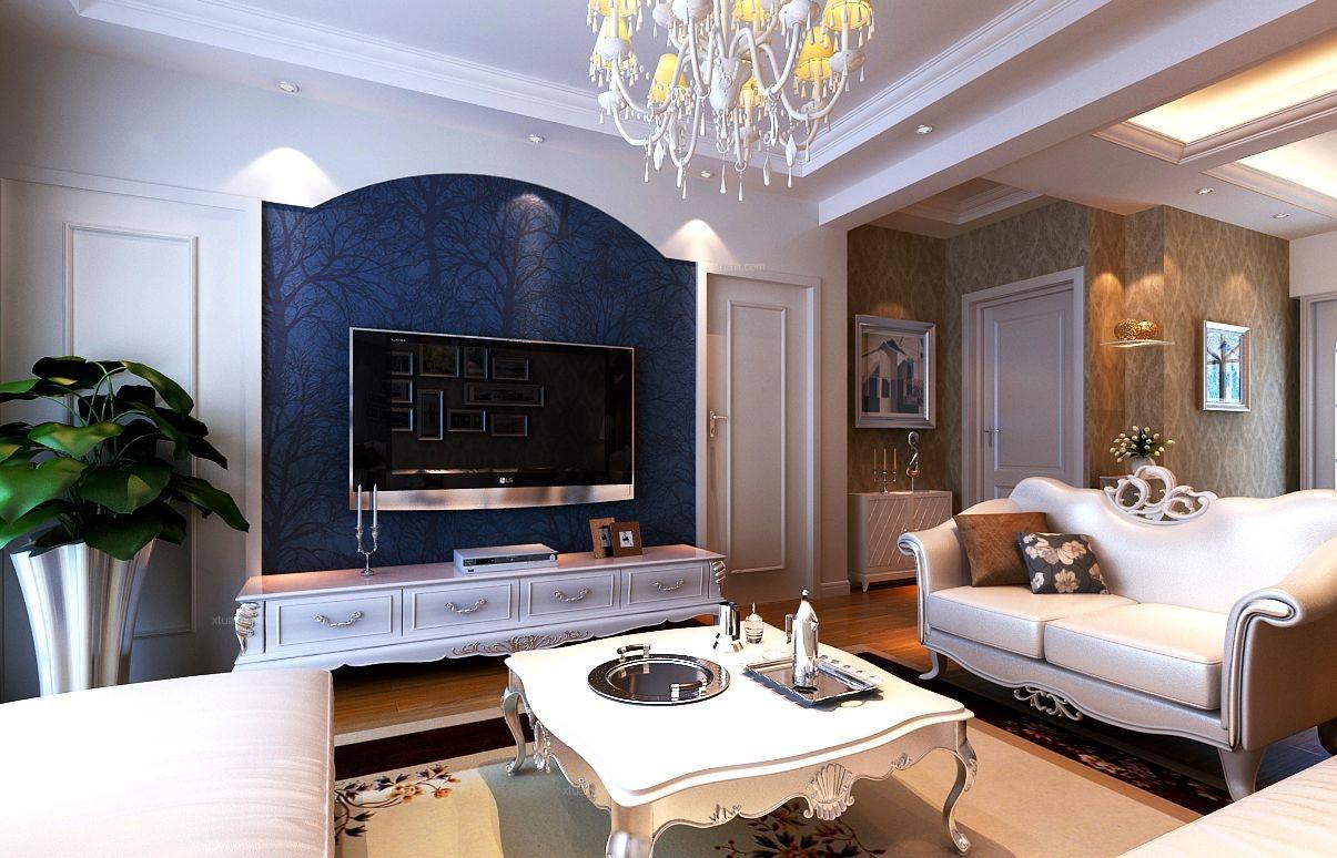 两室两厅美式风格客厅电视背景墙图片