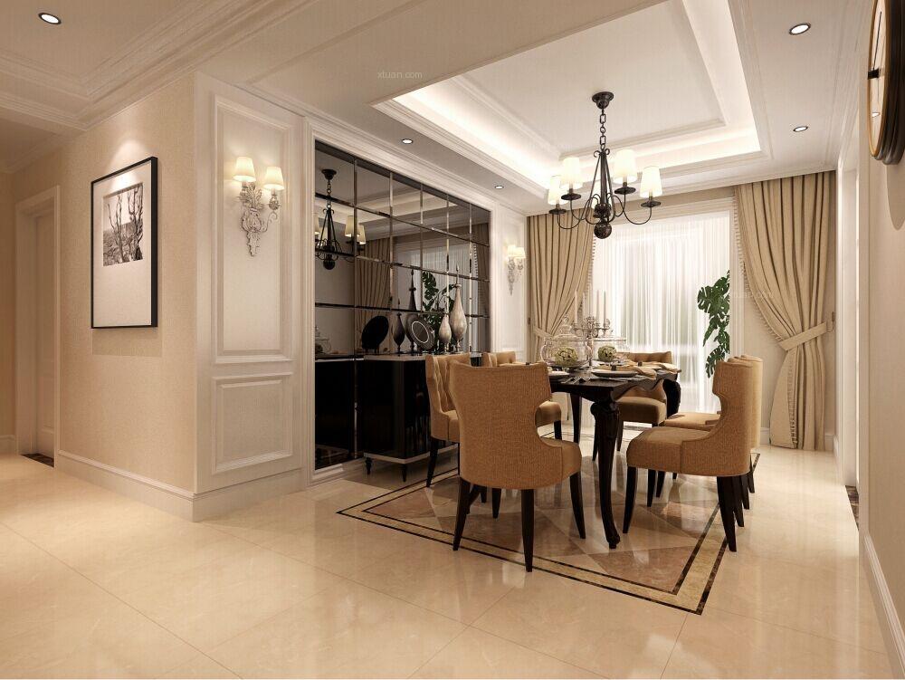 三居室欧式风格餐厅隔断_简欧风格客厅装修效果图-x团