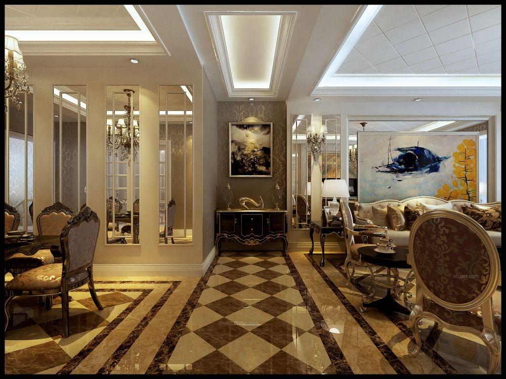 三居室欧式风格过道_田园牧歌-4万3打造127平欧式风格