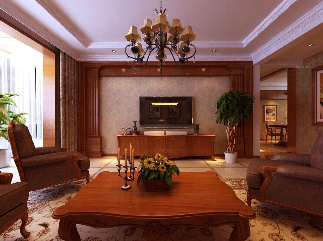 三室两厅美式风格客厅电视背景墙图片