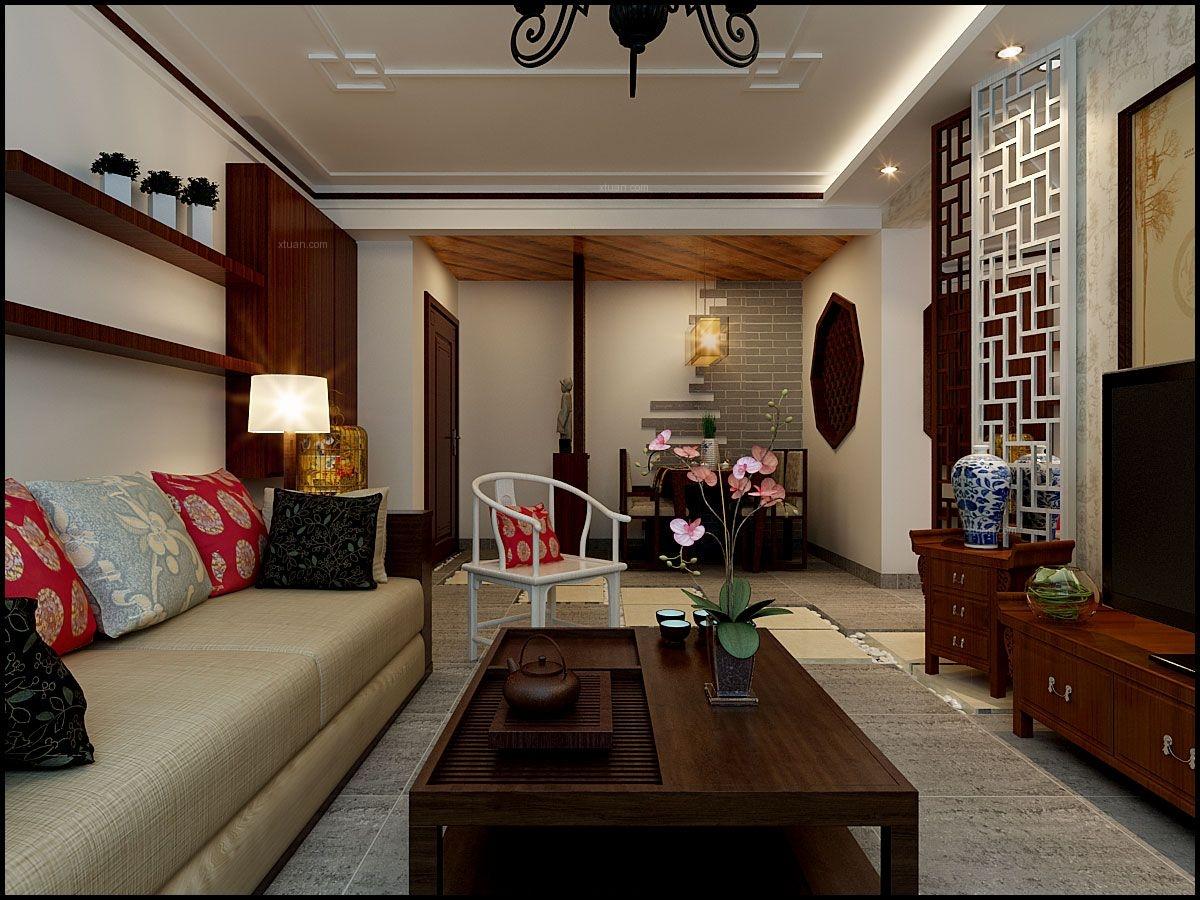 两居室客厅_天海誉天下90平米现代苏式装修效果图图片