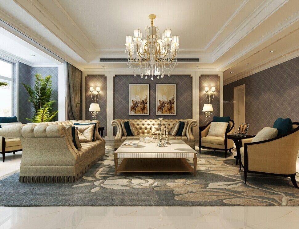 四居室法式风格客厅照片墙图片