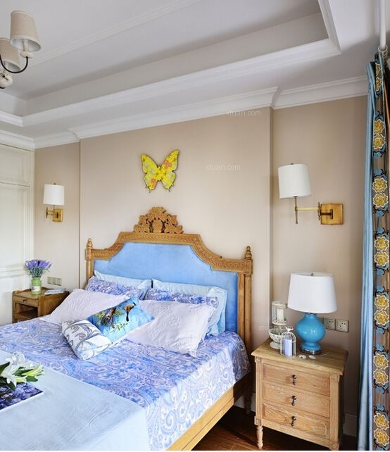 三室一厅美式风格主卧室隔断_美郡园装修效果图-x团图片