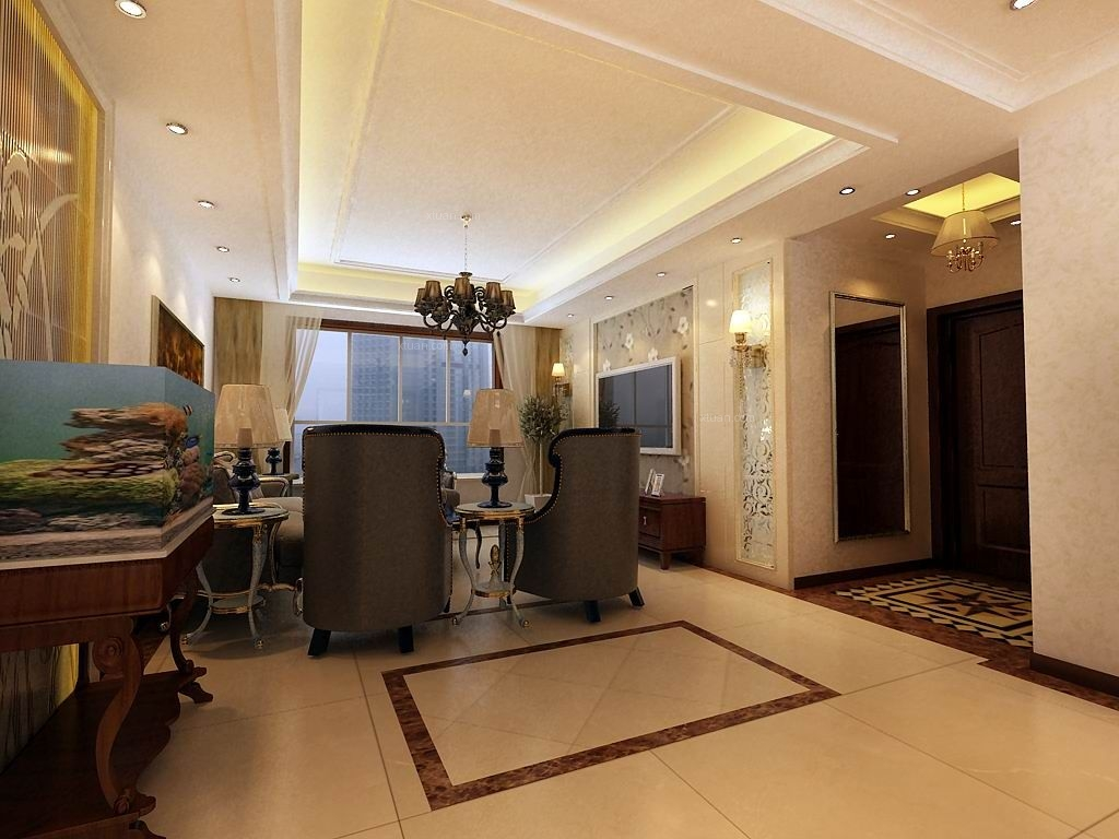 三室两厅欧式风格客厅地台