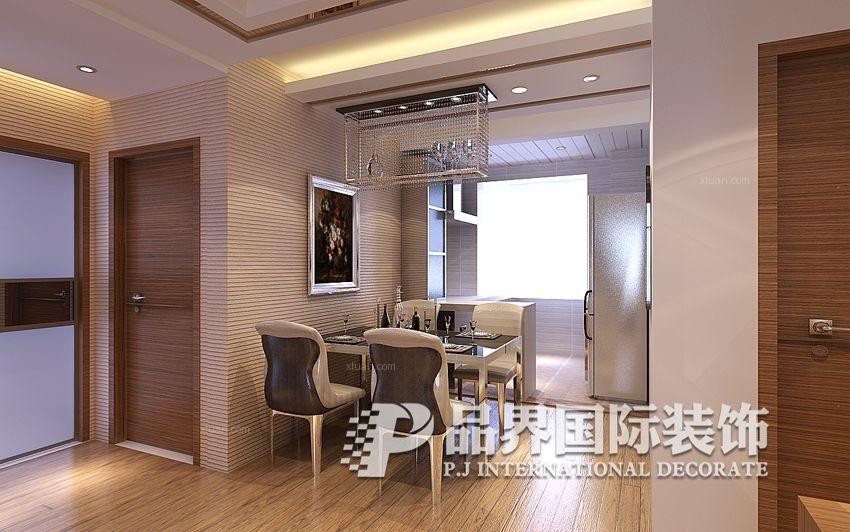 大户型现代简约客厅开放式厨房_中信城现代简约装修