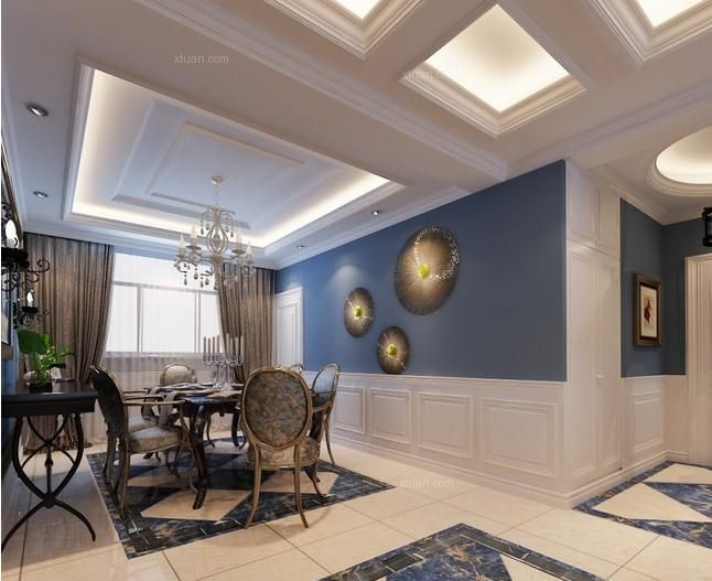 三室两厅地中海风格餐厅开放式厨房图片
