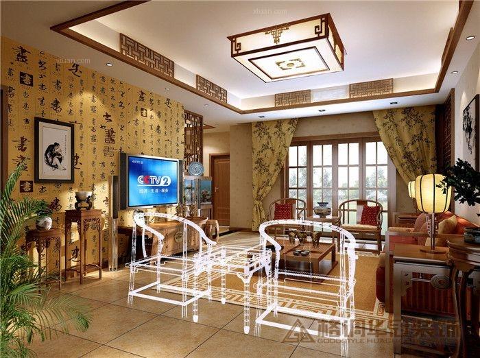 三居室中式风格客厅家庭影院
