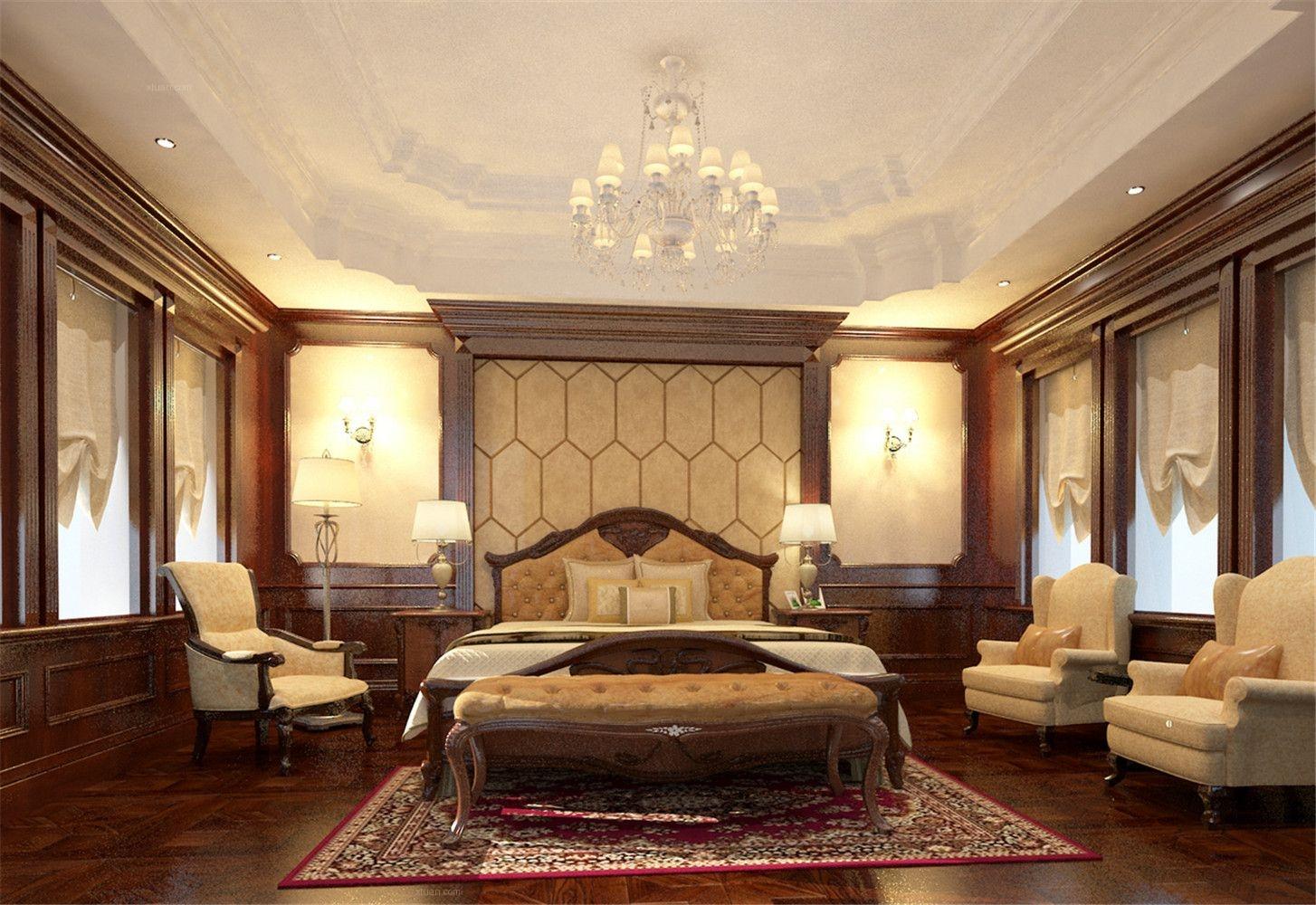 四居室美式风格卧室_外外滩大平层古典风格设计装修图图片