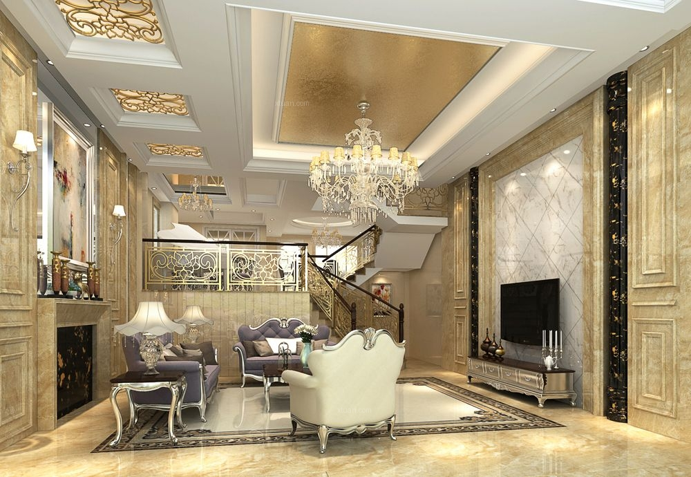 别墅法式风格客厅_浅水湾畔装修效果图-x团装修网图片
