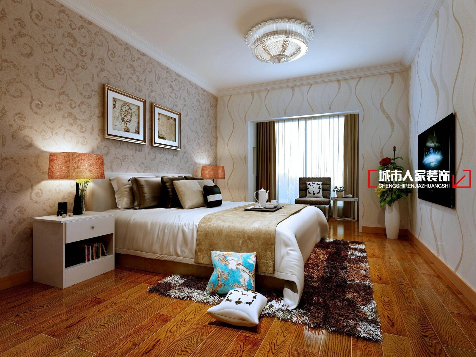 三居室欧式风格卧室_海富长兴a1户型简欧设计装修效果