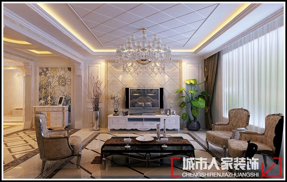 复式楼简欧风格客厅电视背景墙_紫园复式260平方现代图片