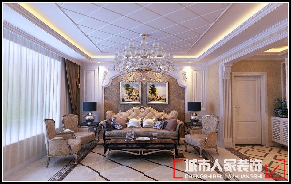 复式楼简欧风格客厅沙发背景墙图片